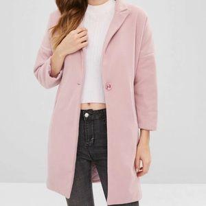 Jackets & Blazers - Dusty pink button lapel woolen long coat